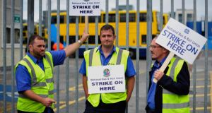 Striking bus drivers outside Dublin Bus's Ringsend Garage earlier this month. Photograph: Aidan Crawley