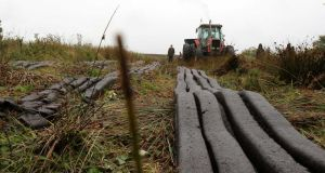 Machine-cut turf at Barroughter Bog, Portumna, Co Galway on Saturday. The bogs are being harvested despite  their designation as EU special areas of conservation. Photograph: Hany Marzouk