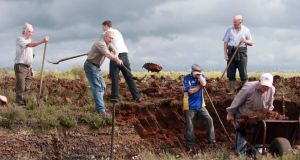 Local turfcutters at Clonmoylan bog, Co Galway harvesting their bogs last week. Photograph: Hany Marzouk