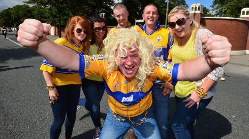 Tot Murphy, (centre) with Triona McGrath, Deirdre O'Shea, Brian Hassett, Mike Kennedy, and Julie Anne McInerney from East Clare arrive for the All Ireland Senior Championship Hurling Semi Final between Clare and Limerick at Croke Park On Sunday. Photograph: Alan Betson/The Irish Times
