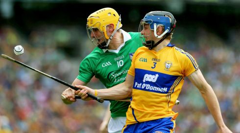 Limerick's David Breen and David McInerney of Clare In action. Photograph:Lorraine O'Sullivan/Inpho