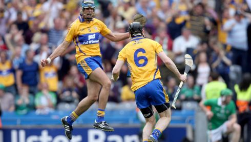 Brendan Bugler and Patrick Donnellan of Clare celebrate at the final whistle Photograph:Donall Farmer/Inpho