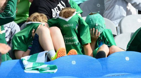 Disappointed Limerick fans at the end of the game. Photograph: Alan Betson/The Irish Times