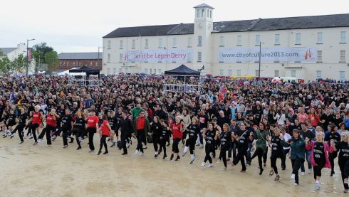 Some 2,500 dancers took part in the Riverdance world record attempt on the final day of the Fleadh Cheoil in Derry. Organisers and charity Children in Crossfire believe they have done enough to secure the record. Photograph: Trevor McBride