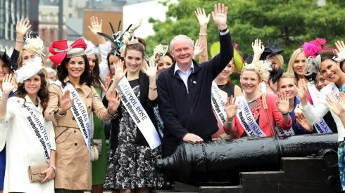 Northern Ireland's deputy first minister Martin McGuinness welcomes Rose of Tralee contestants from around the world to Derry during the all-Ireland Fleadh. Photograph: Paul Faith/PA Wire