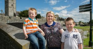Tara Moriarty from Fethard Co Tipperary with her sons Jack and Sean. Photograph: John D Kelly