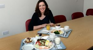 Dietitian Fiona Dunlevy with an example of dishes at The Coombe Womens Hospital. Photograph: Brenda Fitzsimons
