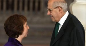 EU foreign policy chief Catherine Ashton with Egypt's then interim vice-president Mohamed ElBaradei during her visit to Cairo last month, when she initiated an attempted deal to resolve the Egyptian conflict. Photograph: Amr Abdallah Dalsh/Reuters