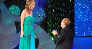 Boyfirend Kyle Catlett proposes to his girlfriend the New Orleans rose Molly Molloy Gambel live on stage during last nights Rose of Tralee