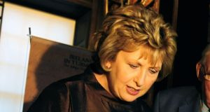 Mary McAleese led mourners at requiem Mass for the late Paddy Leneghan. Photograph: Aidan Crawley