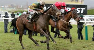 Ted Veale wins the Vincent O'Brien County Hurdle at the 2013 Cheltenham Festival.