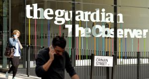The main entrance of the Guardian Newspaper office in  north London. Photograph: John Stillwell/PA Wire