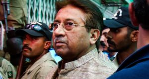Pakistan's former president and military ruler Pervez Musharraf arrives at an anti-terrorism court in Islamabad, Pakistan, in April. Photograph: AP