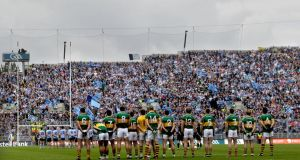The Dublin and Kerry teams line up before the 2011 All-Ireland final. Sunday week's semi-final showdown is set to be Croke Park's first sellout of the summer. Photograph: Inpho.