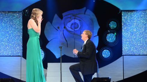 Kyle Catlett (23) pops the question to his girlfriend, New Orleans Rose Molly Molloy Gambel (23), live on TV during the first part of this year's Rose of Tralee. She said yes, although there was a little confustion over the fact she initially said no, no, no... Apparently that was the shock of it all.  Photograph: Domnick Walsh/Eye Focus