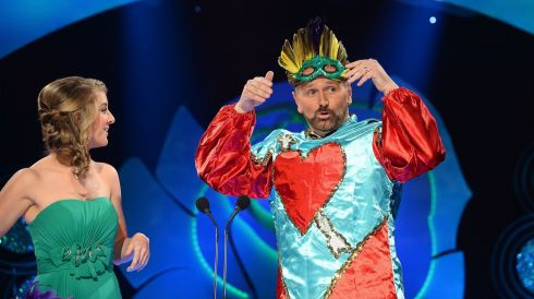 Clowning around: Daithí Ó Sé on stage with  New Orleans Rose Molly Molloy Gambel. Photograph: Domnick Walsh/Eye Focus