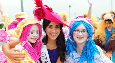 Ottawa Rose Keira Kilmartin with some Kerry locals who dressed up for the Rose of Tralee parade. Photograph: Domnick Walsh/Eye Focus