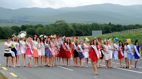 Rose of Tralee Nicola McEvoy leading out this year's Rose contestants at the opening of the new Tralee bypass in Tralee, Co Kerry. Photograph: Domnick Walsh/Eye Focus