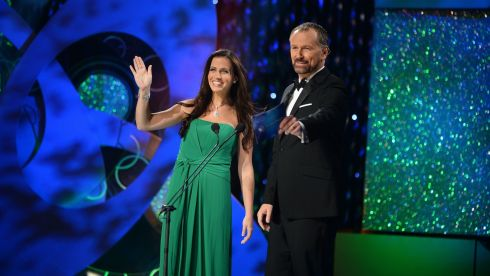 Daithi O'Se and the Texas Rose Haley O'Sullivan during the first part of this year's Rose of Tralee Festival. Photograph: Dominick Walsh/Eye Focus Ltd