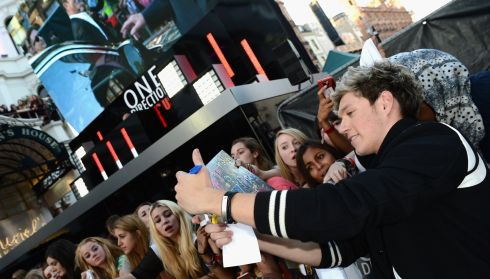 Niall Horan greets fans in Leicester Square. Photograph Ian Gavan/Getty Images