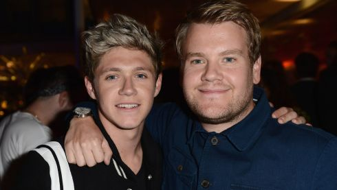 Niall Horan meets James Corden at the This is Us after party in London, England.  Photograph: Ian Gavan/Getty Images