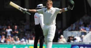 Australia's  Shane Watson celebrates his century during day one of the fifth   Ashes Test  at The Oval. Photograph:   Shaun Botterill/Getty Images