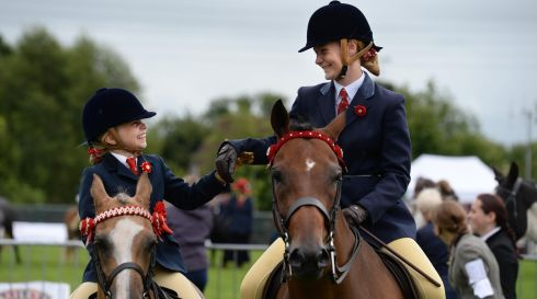 Adrianna Hurst (left) and Lucinda Mills, from Fermanagh, who were competing at the 72nd Virginia Show, in Co. Cavan on Wednesday. Photo: Dara Mac Donaill / THE IRISH TIMES