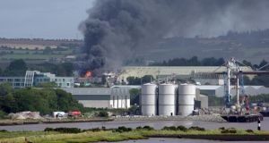 A large plume of smoke visible from the fire at Belview Port yesterday. Photograph: Anna Lehane-Davny