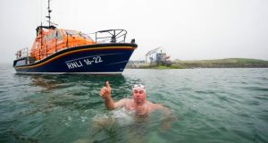 Steve Redmond who hopes to raise funds for the RNLI as he becomes the person to swim from Ireland to Wales. Photograph: WorldReach PR /PA Wire