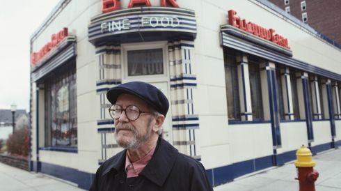 "1. ""Never open a book with the weather."" [Elmore Leonard outside a diner in Detroit, Michigan, November 1992.] Photograph: Michael Brennan/Getty Images"
