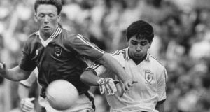 Mayo's Michael Fitzmaurice tackles Tyrone's John McGoldrick during the 1989 All-Ireland senior football semi-final. Photo: Billy Stickland/Inpho
