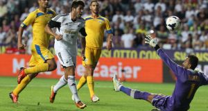 Swansea City's Ajejandro Pozuelo scores the fifth at the Liberty Stadium. Photograph: Nick Potts/PA Wire