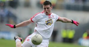 Connor McAliskey scored three points from play in National League final and has been rewarded with a starting place for Tyrone against Mayo on Sunday. Photograph: Morgan Treacy.