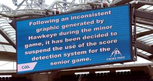 The sign on the big screen at Croke Park last Sunday after Hawk-Eye's failure to award Limerick a point in the All-Ireland Minor Hurling semi-final. Photograph: Inpho.