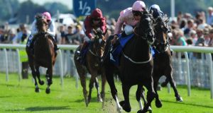 The Fugue ridden by William Buick wins yesterday's Darley Yorkshire Oaks. Photograph: Anna Gowthorpe/PA Wire