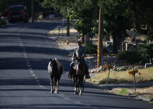 A resident walks a horse down a deserted street after the neighbourhood was evacuated as the rim fire closed in. The Rim Fire continues to burn out of control and threatens 2,500 homes outside of Yosemite National Park. Over 1,000 firefighters are battling the blaze. Photogrpah: Justin Sullivan/Getty Images