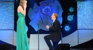 Yes, she said, yes: the New Orleans Rose,  Molly Molloy Gambel, accepts Kyle Catlett's marriage proposal live on television during  'The Rose of Tralee' on Monday night.  Photograph: Domnick Walsh/Eye Focus