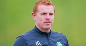 Celtic manager Neil Lennon during the training session at Lennoxtown, Glasgow.  Photograph: PA Wire
