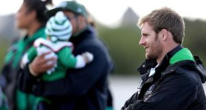 New Connacht signing Craig Clarke looks on. Photograph: James Crombie/Inpho