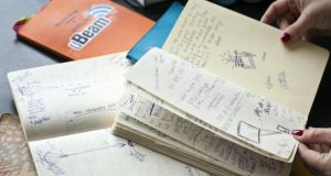 Meredith Perry's notebooks in which she recorded ideas and trials during the development of her uBeam device. Photograph: Peter DaSilva/The New York Times