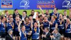 Captain Leo Cullen lifts the the RaboDirect PRO12 trophy after Leinster's victory over Ulster in the RDS last May. photograph: James Crombie/Inpho