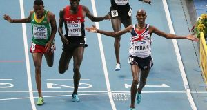 Britain's Mo Farah  wins the men's 5,000 metres final at the World Championships at the Luzhniki Stadium in Moscow.