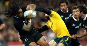 Ma'a Nonu of the All Blacks is tackled by Adam Ashley-Cooper of Australia during The Rugby Championship Bledisloe Cup match  at Westpac Stadium in Wellington, New Zealand. Photograph: Phil Walter/Getty Images