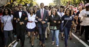 Students of Howard University march from campus to the Lincoln Memorial to participate in the Realise the Dream Rally for the 50th anniversary of the March in Washington . Photograph: James Lawler Duggan /Reuters