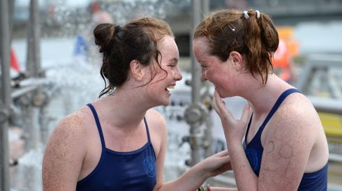 Sisters Eleanor and Alison Bourke, Churchtown, Dublin after the 94th Dublin City Liffey Swim supported by Dublin City Council and staged by The Open Sea  Committee at the weekend. Photo: Dara Mac Donaill / THE IRISH TIMES