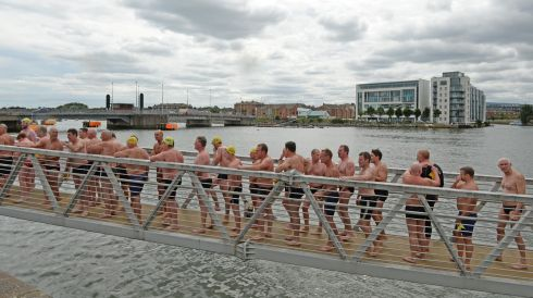 Finishing the Liffey Swim supported by Dublin City Council and staged by The Open Sea  Committee at the weekend. Photo: Dara Mac Donaill / THE IRISH TIMES