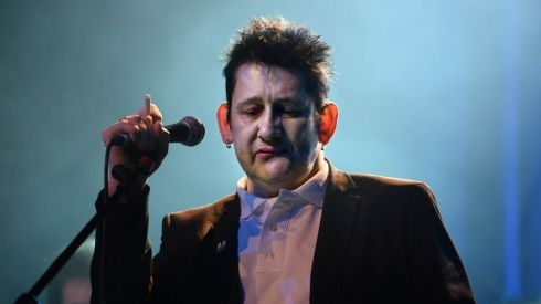 Shane Mc Gowan  onstage  at the Philip Chevron night at the Olympia Theatre on Saturday. Photo: Cyril Byrne / THE IRISH TIMES