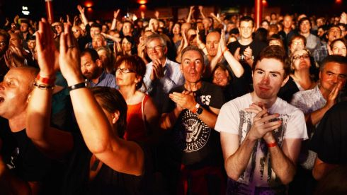 Audience members at the Philip Chevron night at the Olympia. Photo: Cyril Byrne / THE IRISH TIMES