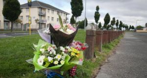 Flowers at the scene of a fatal shooting on Harelawn Green, Clondalkin, Dublin.Photograph:  Gareth Chaney/Collins