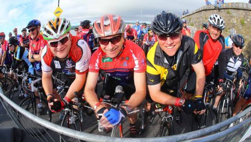 Participants in the Sean Kelly Tour of Waterford 2013 at Dungarvan, Co Waterford, Pictured are centre of photo, Kevin Greg and Fred Price, Kildare. Photo : Patrick Browne